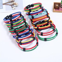 Brazil Flag Bracelets Australia - 11 styles Fashion Russia Spain France Brazil Flag Leather Team Bracelet Men High Quality Football Fans Couples Gift Jewelry pksp1-2