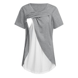 a6cd84b8f3fa2 Nursing Shirts UK - Maternity T-shirt Women Maternity Short Sleeve Comfy  Layered Nursing Top
