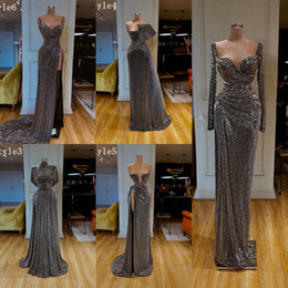 Wholesale grey slit dress for sale - Group buy 2020 New Long Arabic Gray Prom Dresses Sexy High Slit Sweetheart Strap Spaghetti Grey Dubai Lebanon Ladies Formal Evening Gowns