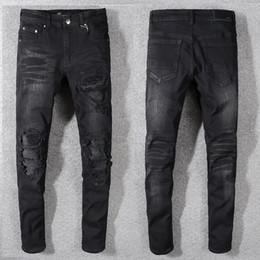 Mens Long Cotton Trousers Australia - 2019 Top Quality Brand Black jeans for men holes Distressed Moto Biker Denim biker jeans Slim fit Cotton jeans Mens long trousers