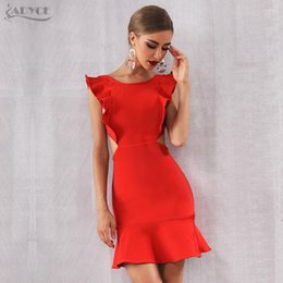 Red Strapless Shirts Australia - Adyce 2019 New Summer Arrival Women Bandage Dress Sexy Sleeveless Strapless Red Ruffles Mini Club Vestido Celebrity Party Dress Y19051102