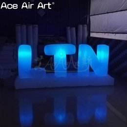 Glow Party Decorations Australia - Cheap ground inflatable letters decoration,glowing inflatable alphabet of LTN for party,stage ,wedding or promotion