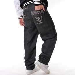 street dance jeans UK - E-BAIHUI European and American Style Mens Jeans Trend Long Pants Loose Casual Plus Skateboard Hip Hop Jeans Men's Street Dance Costume L603