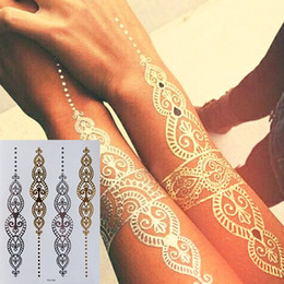Painting Glitter Temporary Australia - Body Art Painting Tattoo Stickers Glitter Metal Gold Silver Temporary Flash Tattoo Disposable Indians Tattoos
