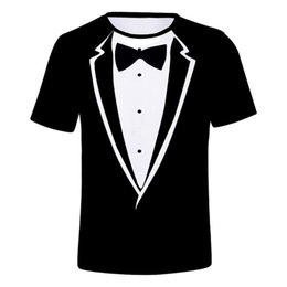 Discount man t shirt black bow Men Summer T- Shirt Brand-clothing Suit Bow Tie Print Funny Tshirts Summer Casual Loose Round Neck Short Sleeve Tee Shir