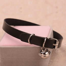 small silver bells Australia - Charm PU Leather Small Bell Choker Necklace Punk Style Women Torques Women Gothic Club Cross Jewelry Necklace