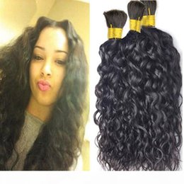 best curly bundle hair Canada - Hair Bulk No Weft Best 8A Peruvian Natural Wave Hair 3 Bundles Curly Human Hair For Micro braids Cheap Bulks