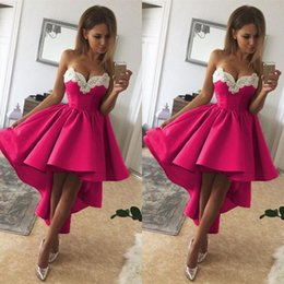 Side high low prom dreSSeS online shopping - Modern Sexy Sweetheart Lace High low Cocktail Dress Above Knee Pleats Short Prom Dresses Sweety Homecoming Graduation Party Dress