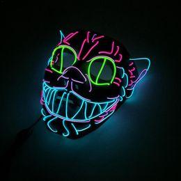 $enCountryForm.capitalKeyWord Australia - El Wire Mask Flashing Cosplay Led Glowing Cat Mask Costume Anonymous Mask For Glowing Dance Masks Halloween Decoration