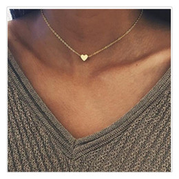 $enCountryForm.capitalKeyWord Australia - 2019 New Necklace Gold Silver Plated Small Heart Necklaces For Women Collars Fashaion Jewelry Collarbone Pendant Necklace