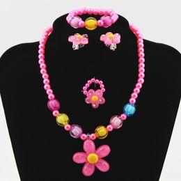 $enCountryForm.capitalKeyWord Australia - Hot 4pcs Lovely Girl Kids Sun Flower Necklace Bracelet Rings Earclip Imitation Pearls Flower Children Sets SMA66