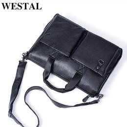 Genuine Leather Handles Australia - WESTAL Men Briefcase with Handle Genuine Leather Shoulder Laptop Bag 15inch office bags Men Leather Briefcase Black Handbags #486165