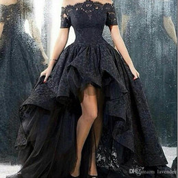 $enCountryForm.capitalKeyWord Australia - High Low Prom Dresses Black Lace Off The Shoulder Short Sleeves A-line Corset Fast Shipping Special Occasion Party Gowns Modest Style