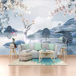 Wallpapers Stereo Australia - 3d TV background wall modern minimalist wallpaper Nordic elk mural non-woven wallpaper stereo wall covering European wall
