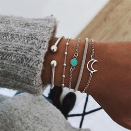 $enCountryForm.capitalKeyWord Australia - 5pcs   Set Vintage Cuff Silver Bangle Bracelets Sets For Women Bohemia Turquoise Moon Charm Chain Bracelets 2019 Jewelry Gifts