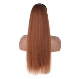 Discount high hair buns - Women Hair Extensions Tied Headwear Seamless Corn Kinky Straight Long Synthetic Bubble Bun Clip In High Puff Afro Wigs P