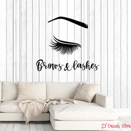 eyes decal wall stickers Australia - Eyes Vinyl Wall Decal Brows Lashes Beauty Salon Female Eye Woman Decor Stickers Mural Bedroom Living Room Decoration