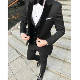 Charcoal Navy Suit Australia - Charcoal Mens 3 Pieces Wedding Suits Jacket+Pants+Vest Slim Fit Groom Suits Tuxedo Groomsmen Suits Wedding Tuxedo for Man