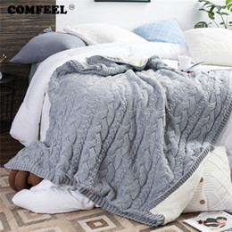 Wool Bedding Australia - COMFEEL Winter Warm Kids Chunky Knit Blankets Double Sided Wool Fluffy Sherpa Throw Blanket Home Sofa Bedroom Super Soft Bedding