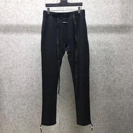 Cool Men Black Pants Australia - FEAR OF GOD Black Cotton Sweatpants Drawstring Skinny Jogging Bottoms Pant Men Cool Streetwear Casual Trousers NCI0508