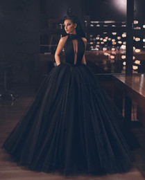 $enCountryForm.capitalKeyWord Australia - Attractive Black Ball Gown Side Split Evening Dresses Deep V Neck Backless Prom Gown Tulle Sweep Train Evening Dress