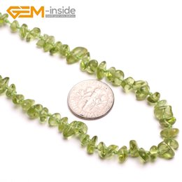 Discount gemini chain - freeform natural Peridot stone necklace DIY necklace Birthstone of August Lucky stone Gemini Leo and Libra Women Fashion