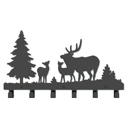 $enCountryForm.capitalKeyWord UK - Coat Hook After the Door Stainless Deer and Trees Indoor Decoration Wall Decor Hanger Key Clothing Holder for