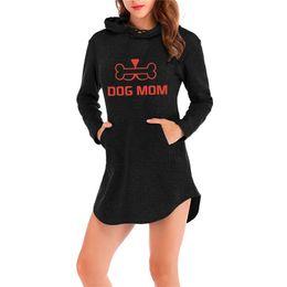 Women dog dress online shopping - DOG MOM Printing Pattern D printing hooded dress female fashion long sleeved dress kpop ms hot trend casual wear