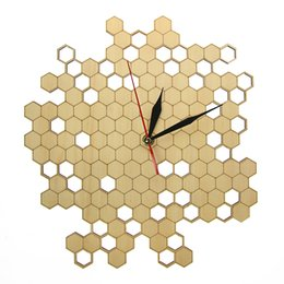 Discount bee decor - Honeycomb Nature Inspired Wooden Wall Clock Contemporary Style Laser Engraved Hexagonal Clock Wall Watch Bamboo Bee Home