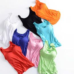 a67fe3931 Women Built In Padded Bra Tank Top Night Sleepwear Breathable Modal Camisole  Solid Casual Basic Shirt Women Tops Bra Vest Summer Y190509
