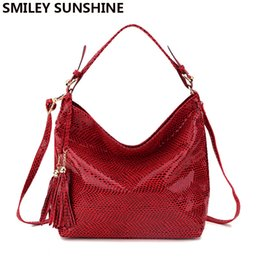 women leather hobo hand bag NZ - Smiley Sunshine Snake Leather Women Shoulder Bag 2018 Female Serpentine Pattern Hobos Bag Tassel Women Handbag Big Red Hand Bags Y19061301
