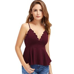 8659030010a2 Tank Top Women Sexy Deep V-neck Backless Sleeveless Crop Top Blouse  Scalloped T-shirt Tops Feminino Camisole Cropped 19FEB25