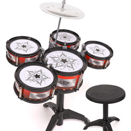 $enCountryForm.capitalKeyWord Australia - 1-3years Children Kids Jazz Drum Set Kit Musical Educational Instrument Toy 5 Drums with Small Stool Drum Sticks for Kids