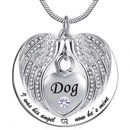 $enCountryForm.capitalKeyWord Australia - Angel Wing Memorial Keepsake Ashes Urn Pendant Birthstone crystal Necklace, i used to be his angle, now he's mine -for Dog