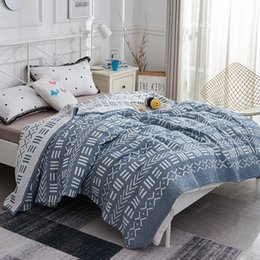portable bedding adults Australia - iDouillet Ethnic Reversible Cotton Hypoallergenic Muslin Bed Blanket Adult Kid Toddler Blankets Geometric Pattern Twin Full Size
