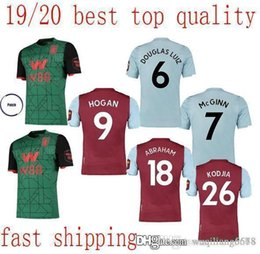 soccer aston villa UK - new best Aston Villa Football Club home red Soccer Jerseys 19 20 Men Aston Villa away soccer shirts short sleeve Football uniforms On Sale