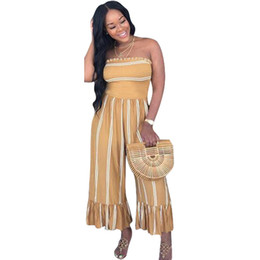 86757813fed Striped Print Sexy Jumpsuits For Women Off The Shoulder Backless Wide Leg  Bodysuit Summer Strapless Sleeveless Ruffles Rompers