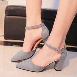 Woman High Comfortable Shoes Australia - Dress Shoes 2019 Summer Women Fashion High Heel Comfortable Flock Buckle Footwear Women Pumps Female Sandals Party Wedding Bt746