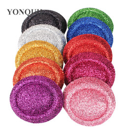 "$enCountryForm.capitalKeyWord Australia - 6.3""(16CM) 10 Color blingbling mini top hats beret fascinator base party hat glitter hats DIY hair accessories 12pcs lot MH020"