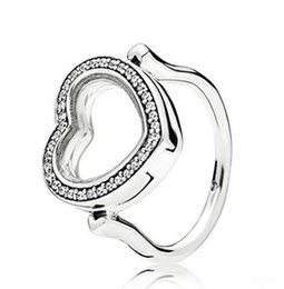 sterling pave ring Australia - Original 925 Sterling Silver Pandora Ring Pave Love Heart Locket With Clear Crystal Rings For Women Wedding Party Gift Fashion Jewelry