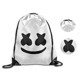 China DJ Marshmallow bag Polyester Backpack Festival Halloween Festival Outdoor Drawstring Travel Shoulder Bag for teenagers MMA1528 50pcs supplier drawstring festival bag suppliers