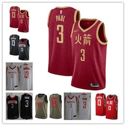 2019 New Men s Houston James 13 Harden Rockets Chris 3 Paul Jersey Red  Black Stitched c7232f4b7