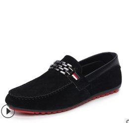Blue Trendy Shoes UK - Spring Autumn Men Black Loafer Shoes Trendy Nubuck Leather Slip-on Loafers Vintage Style Men Driving Casual Blue Flat Shoes K02