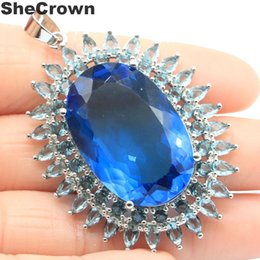 awesome necklaces Australia - 57x37mm awesome long big heavy 166g london blue topaz womans party silver pendant beautiful necklaces pendants supplies
