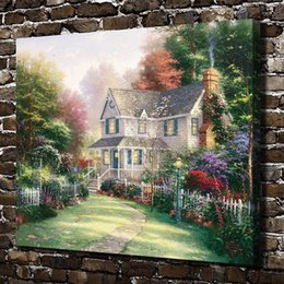 Framed Painting Scenery Australia - Thomas Kinkade,Victorian Garden Scenery,1 Pieces Canvas Prints Wall Art Oil Painting Home Decor (Unframed Framed) 20x24.