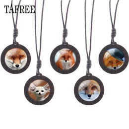 Cute fox jewelry online shopping - Cute Fox Wooden Necklace Glass Animal Fox Image Cabochon Charms Choker Wood Pendant Rope Chains Jewelry CN96