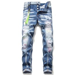 Wholesale american style jeans for men resale online – designer Ripped trousers jeans for mens D2 light blue personality patch placard embroidery waist elastic trend brand jeans mens