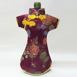 $enCountryForm.capitalKeyWord UK - Luxury Cheongsam Wine Bottle Bag Cover Bottle Packaging Gift Bags Chinese Silk brocade Table Decoration Wine Clothes