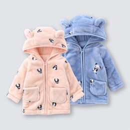 Girls flannel clothes online shopping - Baby Clothes Penguin panda Jacket Coat Autumn Flannel Warm Boys girls Outerwear Children Newborn Hooded Infant Clothes