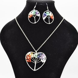 $enCountryForm.capitalKeyWord NZ - Tree of Life Pendant Necklace Earrings Jewelry Sets Life Tree Root Chain Necklaces Heart Hollow Women Female Natural Stone Crystal Jewellery